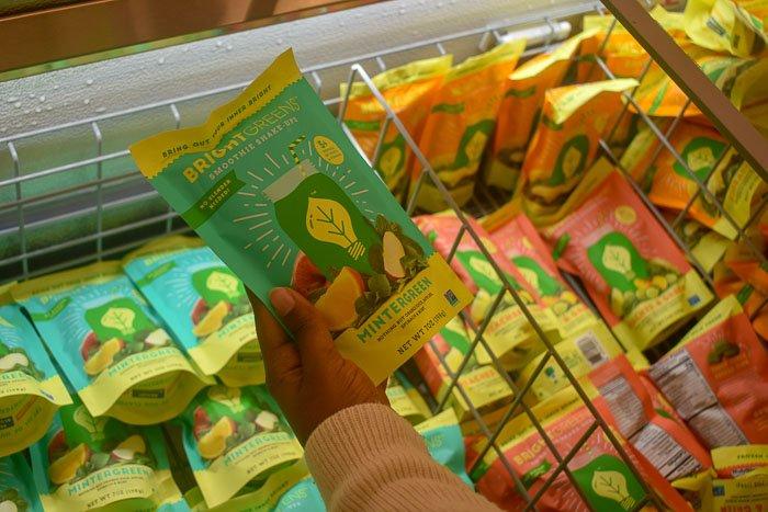 picking up BrightGreens Mintergreen frozen smoothie pack