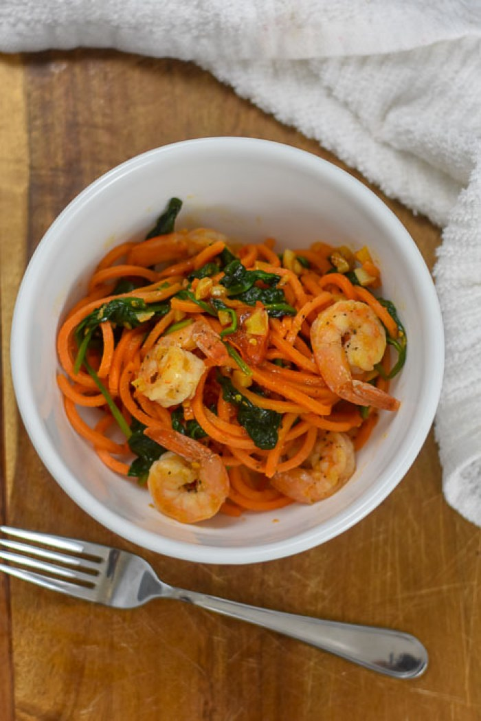 cooked spicy shrimp and veggies in bowl