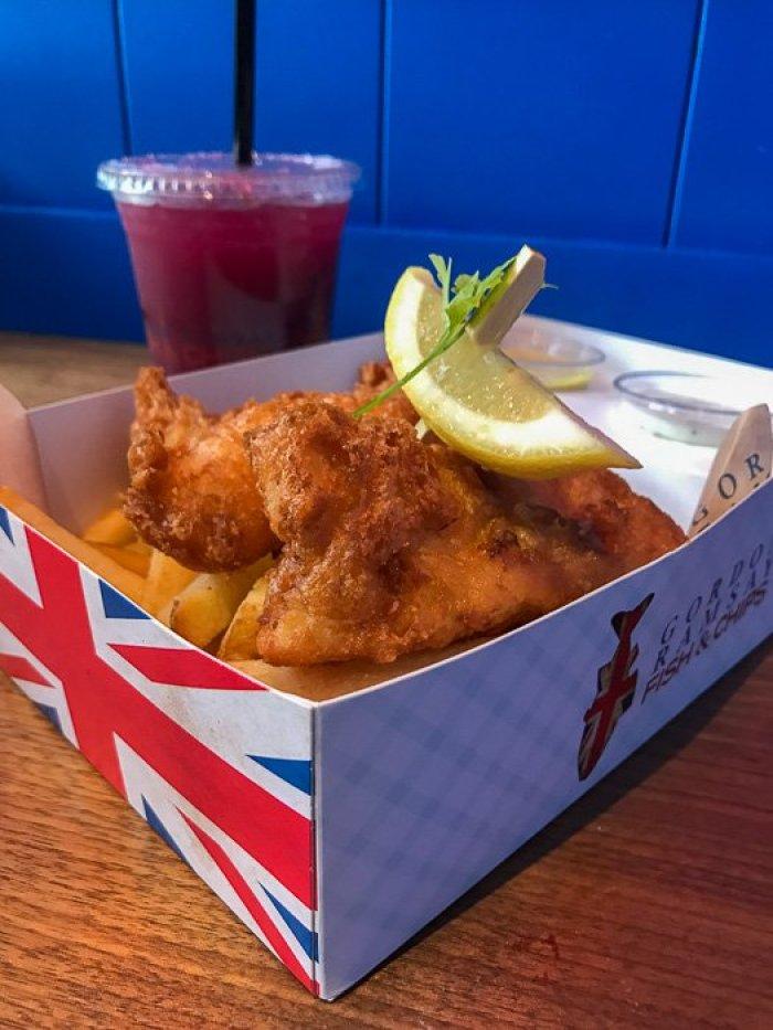 fish and chips box at Gordon Ramsay's Fish & Chips in Las Vegas