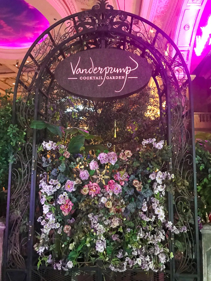 flower wall outside Vanderpump Cocktail Garden Las Vegas