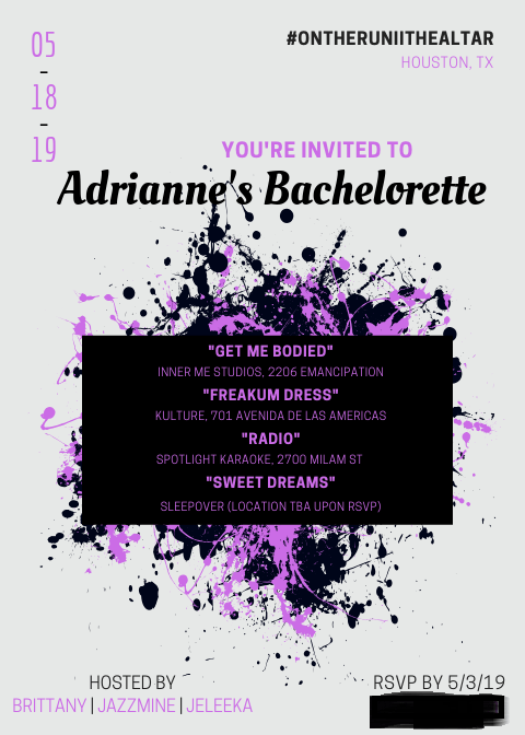 Beyoncé bachelorette party invitation