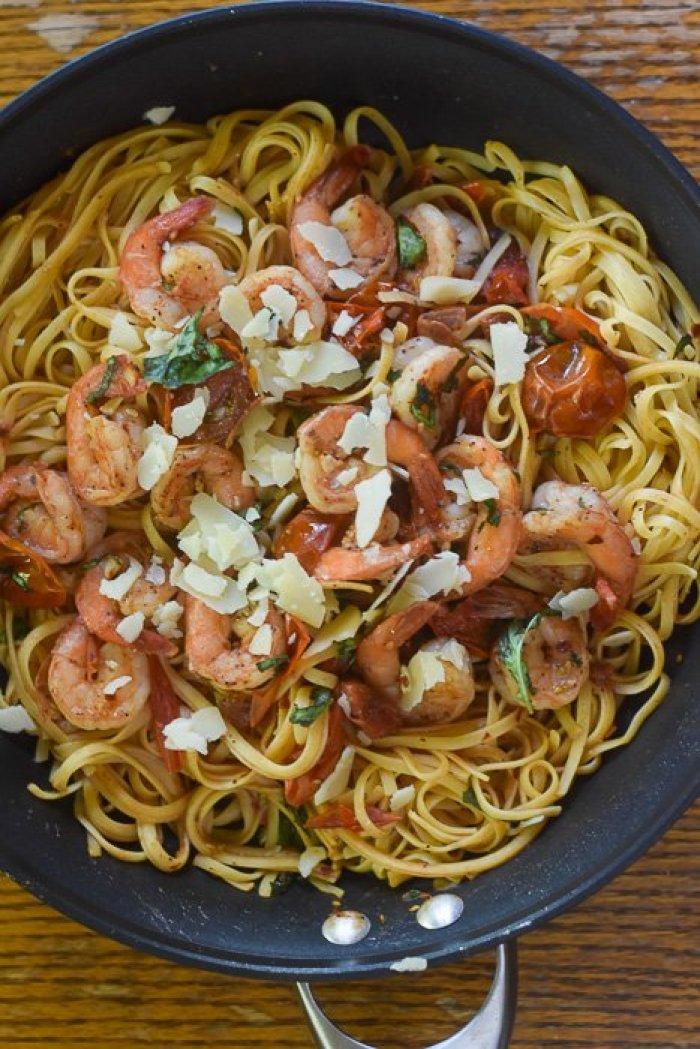 shrimp tomato pasta skillet dinner
