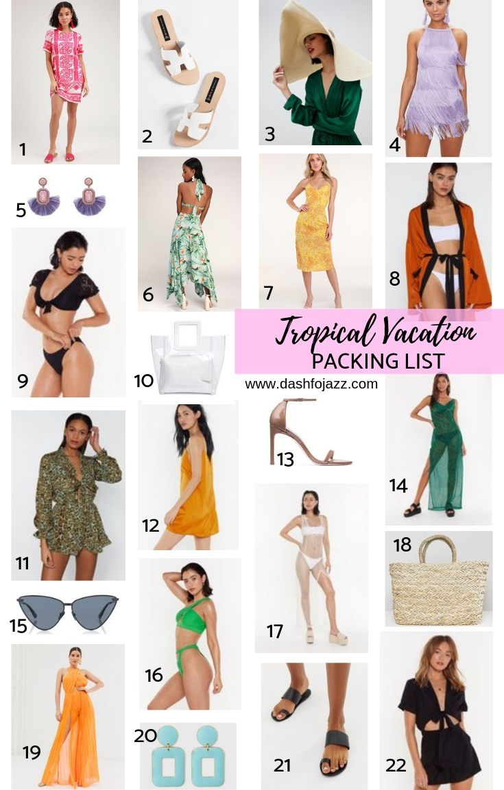 visual tropical vacation packing list mood board
