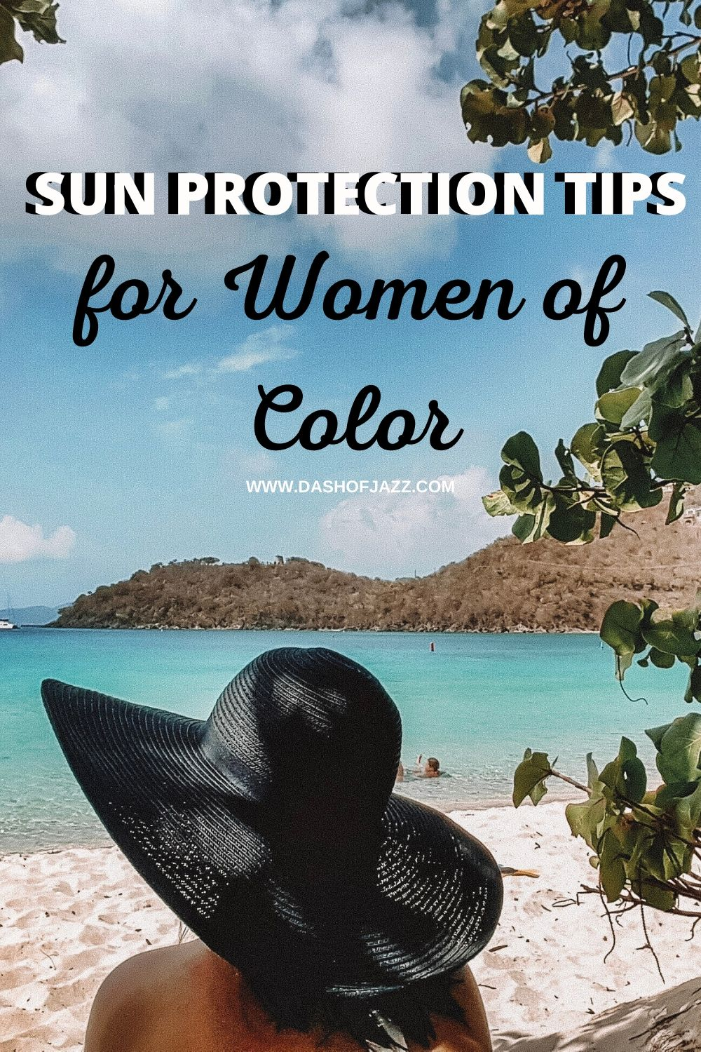 woman wearing sun hat to protect her melanin