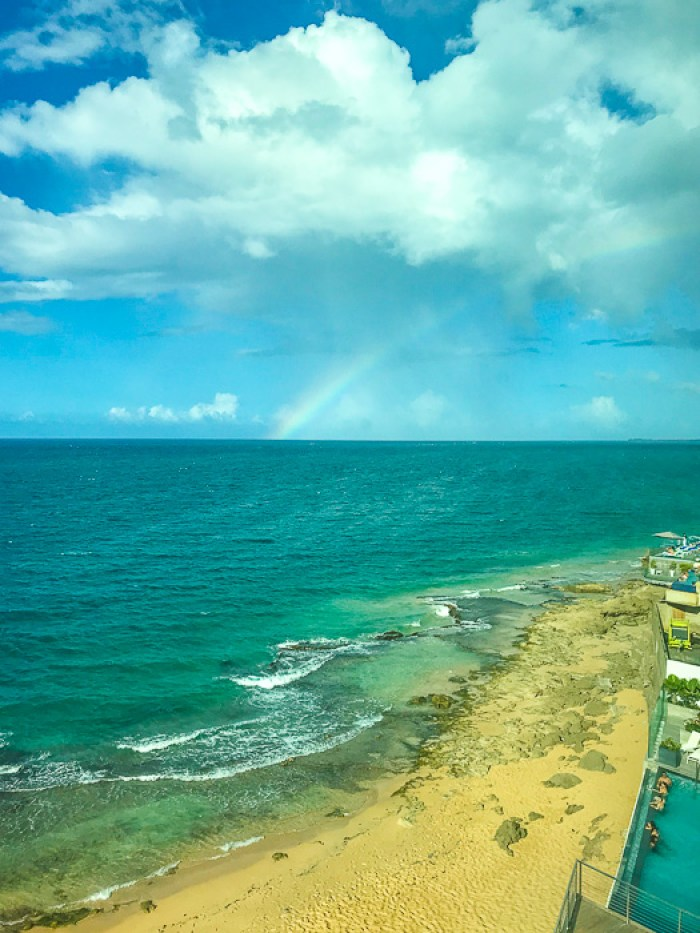 rainbow over Condado Beach in San Juan, Puerto Rico