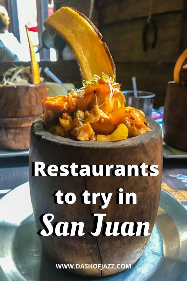 """bowl of mofongo with text overlay """"restaurants to try in San Juan"""""""