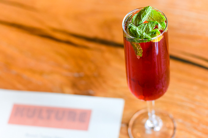 Hibiscus spritz cocktail at Kulture downtown Houston