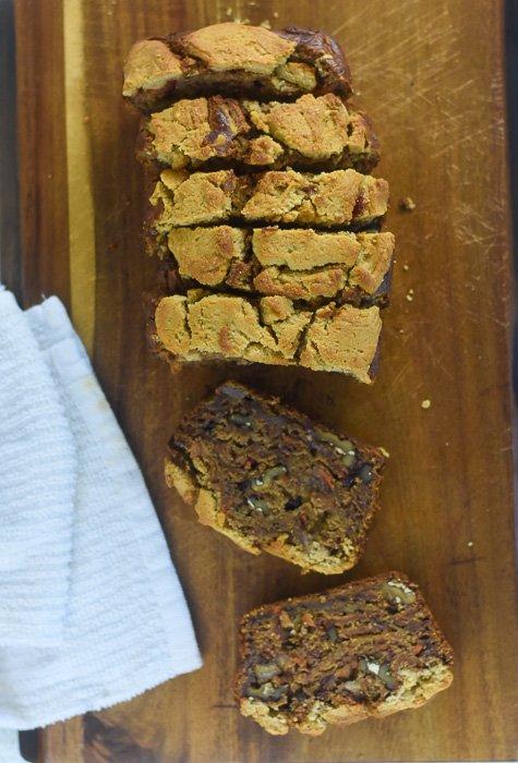 sliced loaf of vegan harvest banana bread