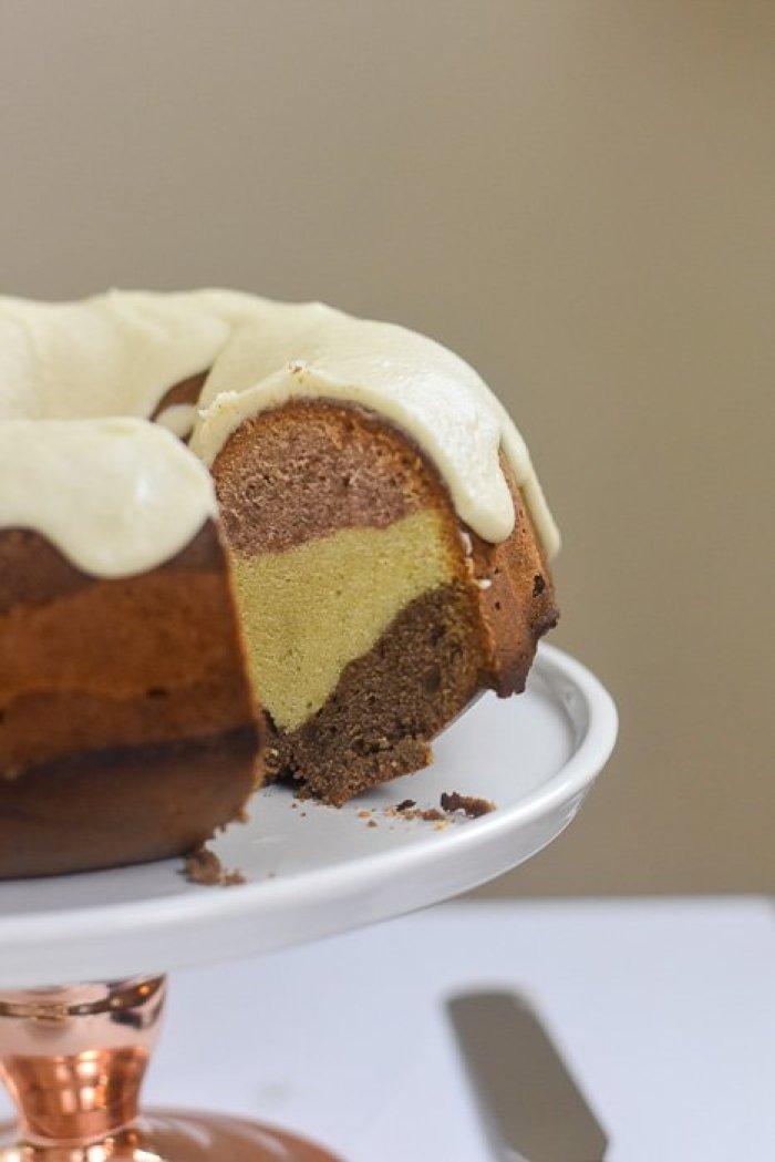 frosted Neapolitan pound cake