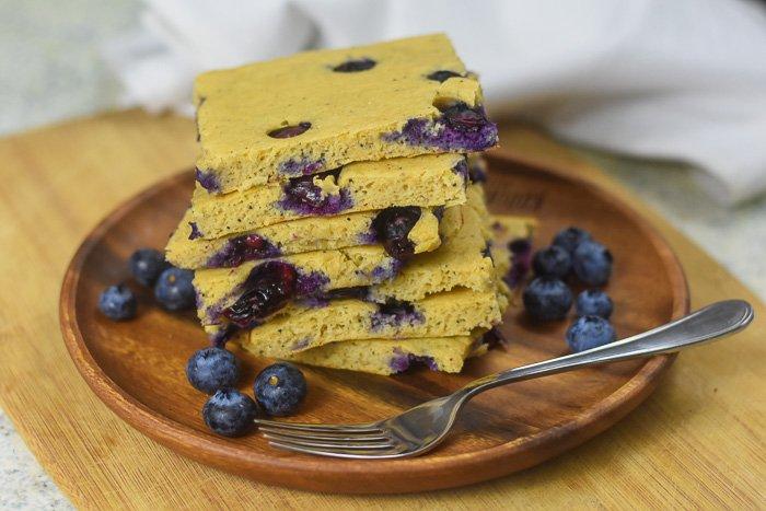 sheet pan pancakes and fresh blueberries