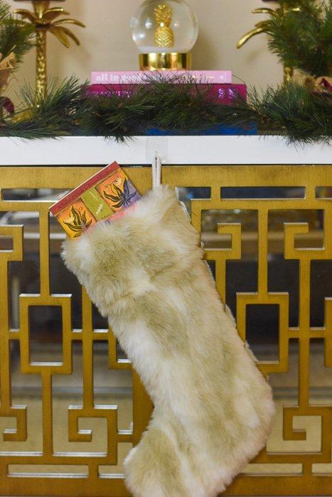 faux fur stocking hanging