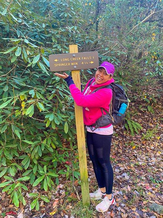long creek falls hike sign