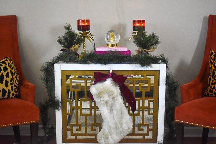 Christmas decor vignette in living room