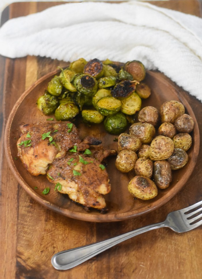 honey mustard chicken, brussels sprouts, and potatoes