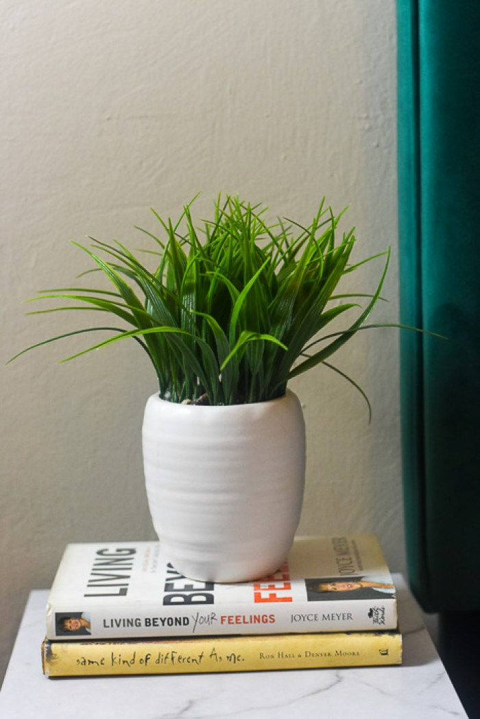 faux potted plant on bedside table