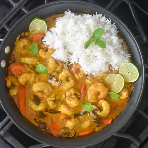 Easy Coconut Curry Shrimp & Veggies (in 20 minutes!)