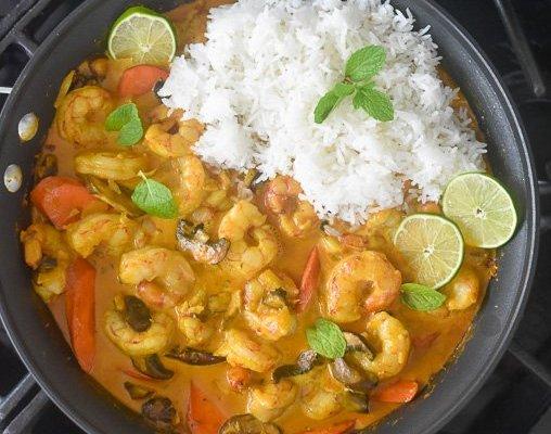 Easy Coconut Curry Shrimp & Veggies (in 20 minutes!)