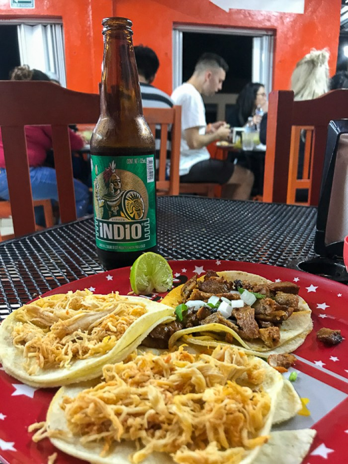 authentic Mexican tacos and Indio beer at Antojitos la Chiapaneca, Tulum, Mexico