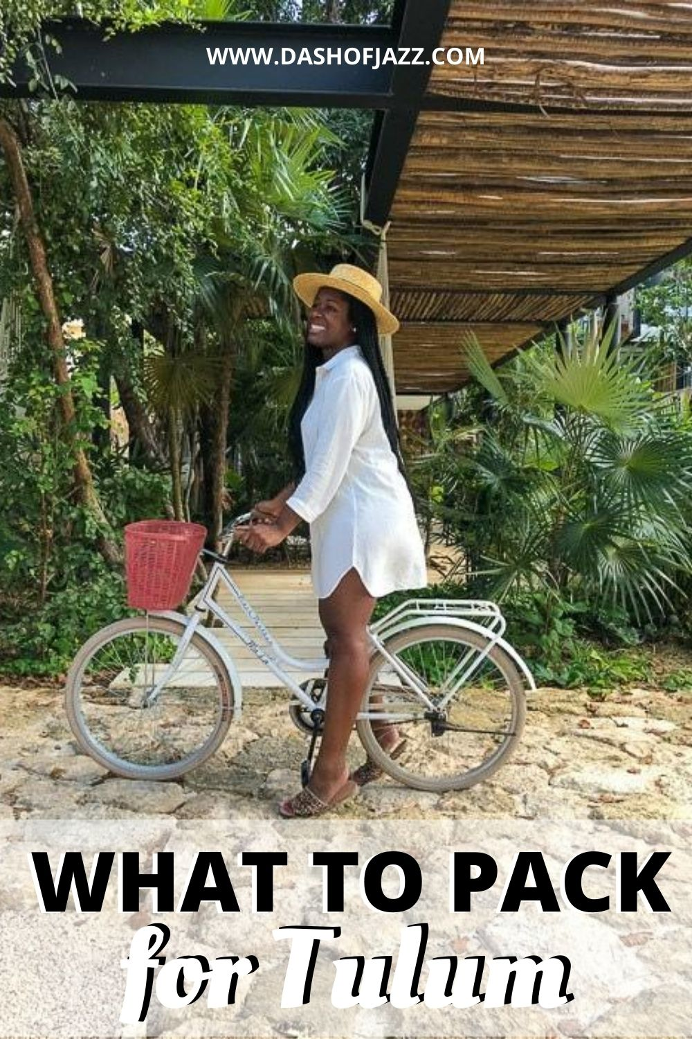 "Jazzmine on bicycle with text overlay ""what to pack for Tulum"""
