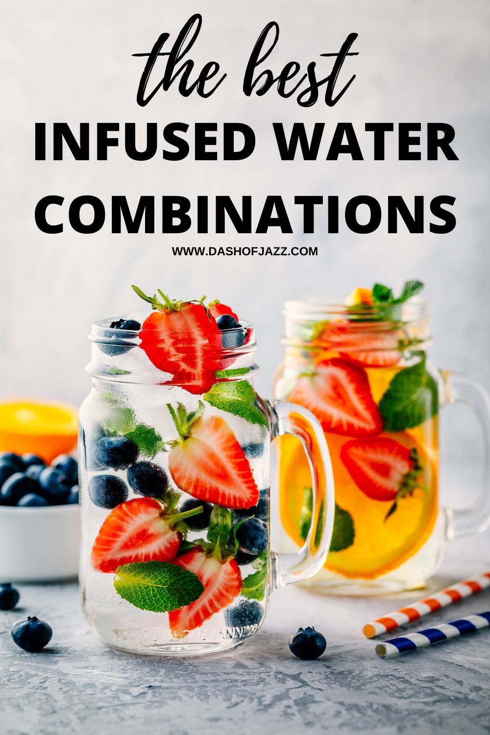 two glasses of infused fruit water