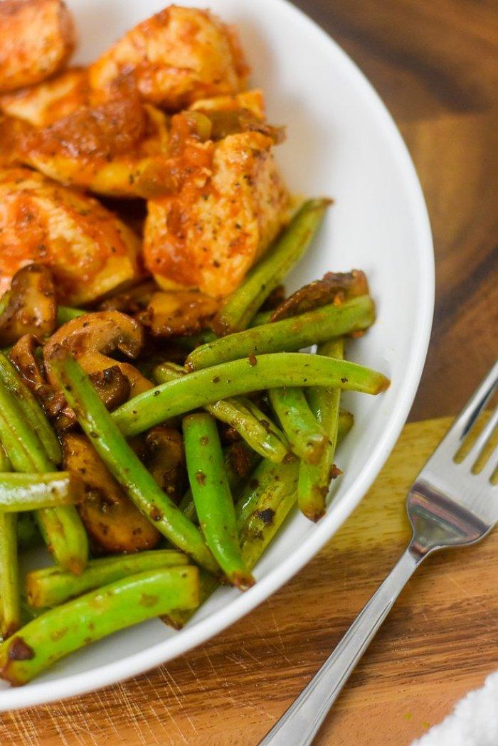 lemon garlic veggies and salsa chicken on plate