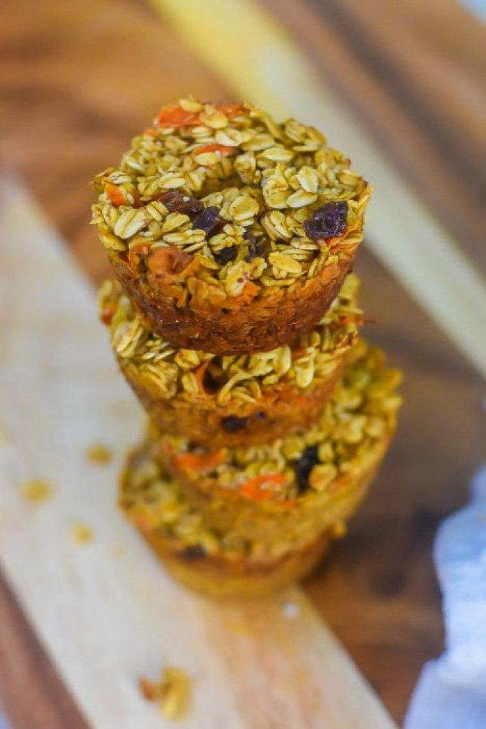 carrot cake oatmeal breakfast muffins on cutting board