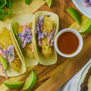 Crispy Fish Tacos With Sweet & Spicy Slaw