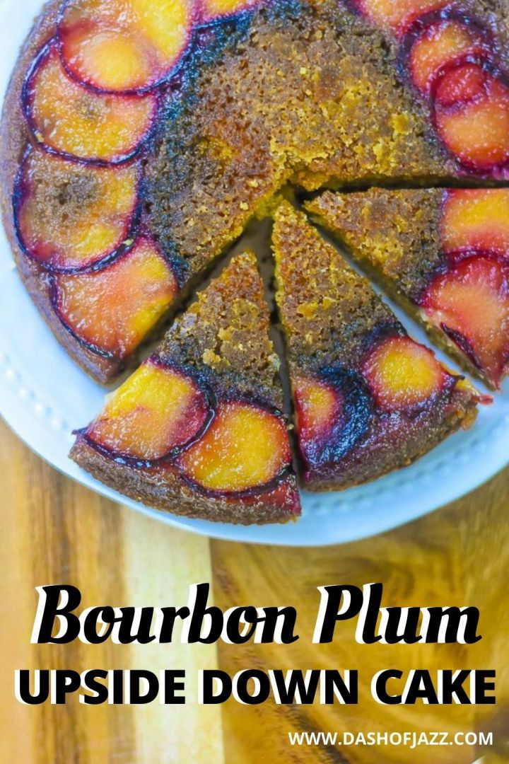 bourbon plum upside down cake with three slices separated