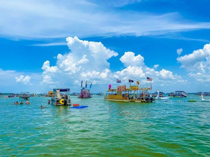 floating vendors at Crab Island, Destin, Florida