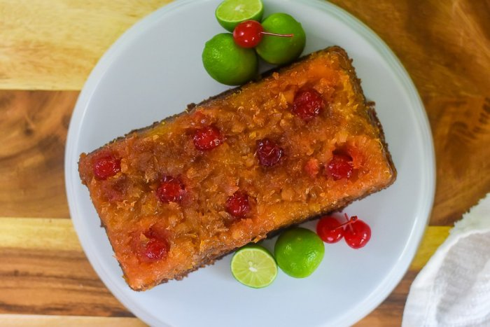 key lime pineapple upside down loaf cake
