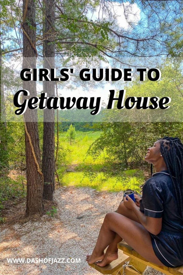 "Jazzmine sitting outside Getaway Houston cabin with text overlay ""Girls' Guide to Getaway House"""