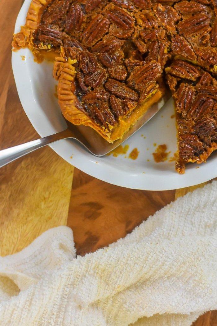 bourbon sweet potato pecan pie cut into slices