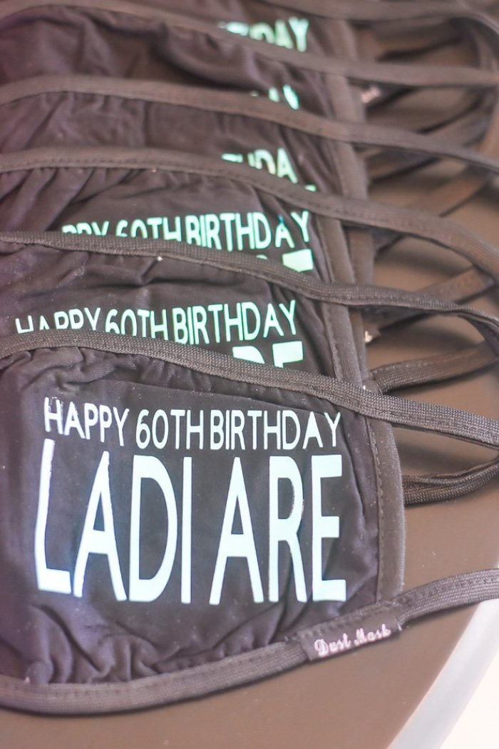 "personalized face masks reading ""Happy 60th Birthday Ladi Are"""