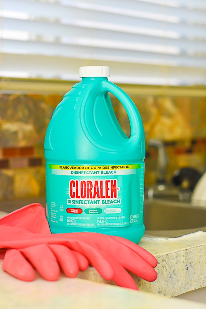 bottle of Cloralen Disinfectant Bleach on countertop next to pink rubber gloves.
