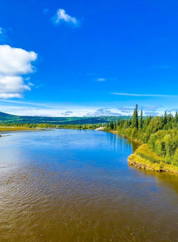 banks of Chena River in Fairbanks, Alaska.