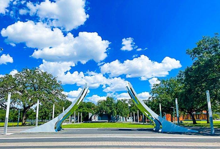 Metal sculpture at Houston Third Ward Emancipation Park.