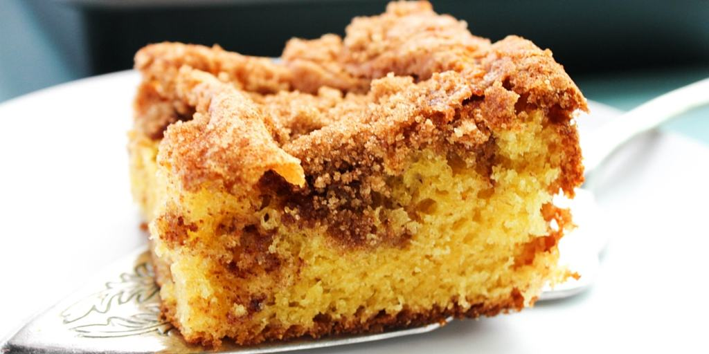 Best Ever Coffee Cake on pie server
