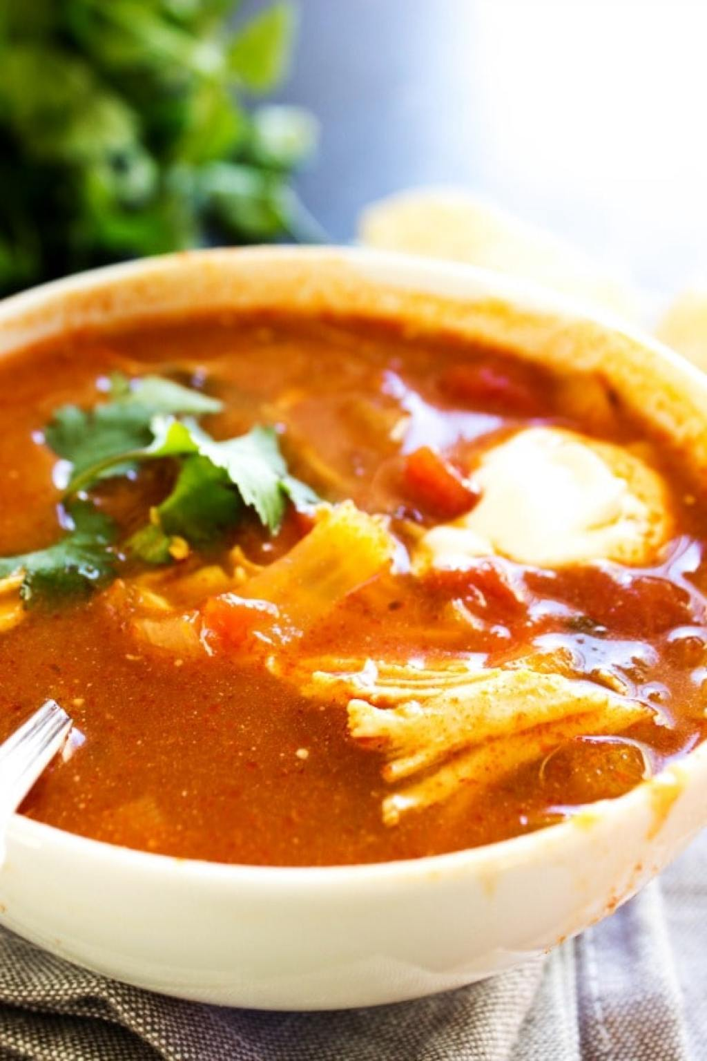SLOW COOKER AUTHENTIC TORTILLA SOUP close up