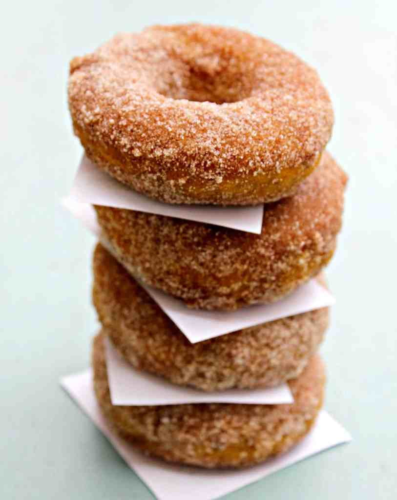 Baked Cinnamon & Sugar Pumpkin Donuts stacked with parchment paper