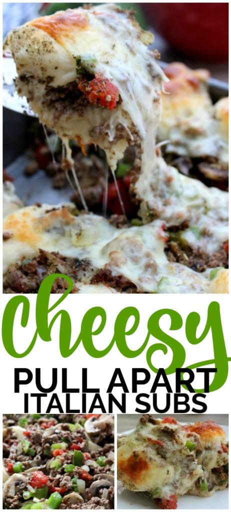 Cheesy Pull Apart Italian Subs pinterest image