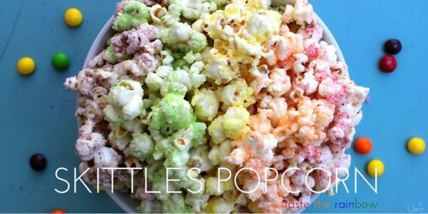 Skittles Popcorn is so easy to make & fun to eat. This enjoyable fruit flavored popcorn will be a fan favorite. Dunk the rainbow, Taste the rainbow.