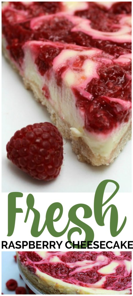 Don't forget to pin these Fresh Raspberry Cheesecake to your favorite Pinterest board for later. Lightened up Fresh Raspberry Cheesecake is an easy yet delicious recipe, made with low-fat cream cheese, yogurt, and fresh raspberries.