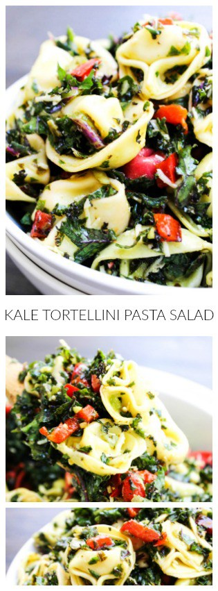 This Kale & Tortellini Pasta Salad is made with fresh kale, roasted red peppers, shallots, garlic, tortellini pasta and a delicious lemon pesto dressing.