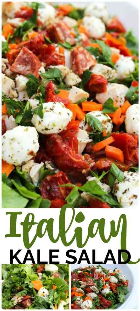 Italian Kale Salad with Sweet Lemon Garlic Vinaigrette pinterest image