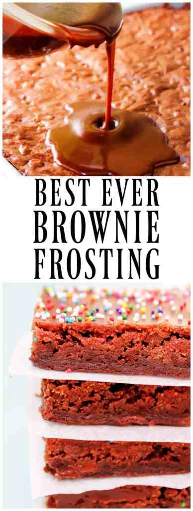 This is the BEST EVER BROWNIE FROSTING and I am not messing around. Rich and fudge like this frosting is mouthwatering delicious!