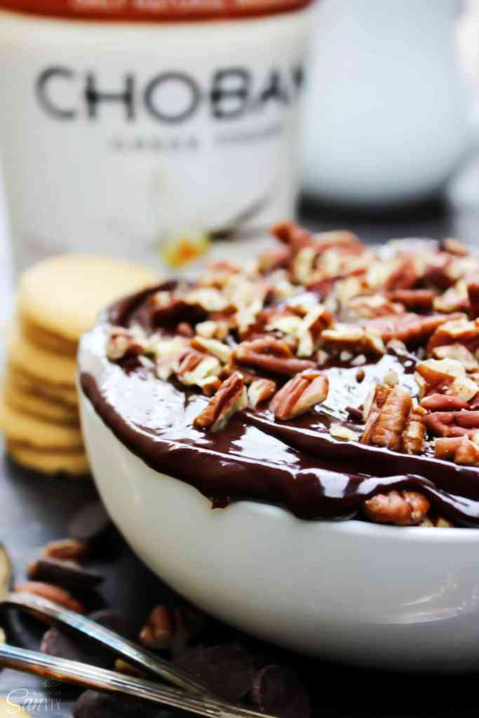 No-Bake Turtle Cheesecake topped with pecans