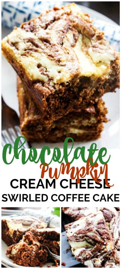 Chocolate Pumpkin Cream Cheese Swirled Coffee Cake pinterest image