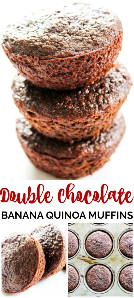 Double chocolate banana quinoa muffins pinterest image