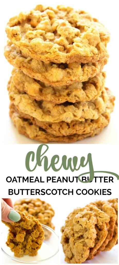 Chewy Oatmeal Peanut Butter Butterscotch Cookies pin image