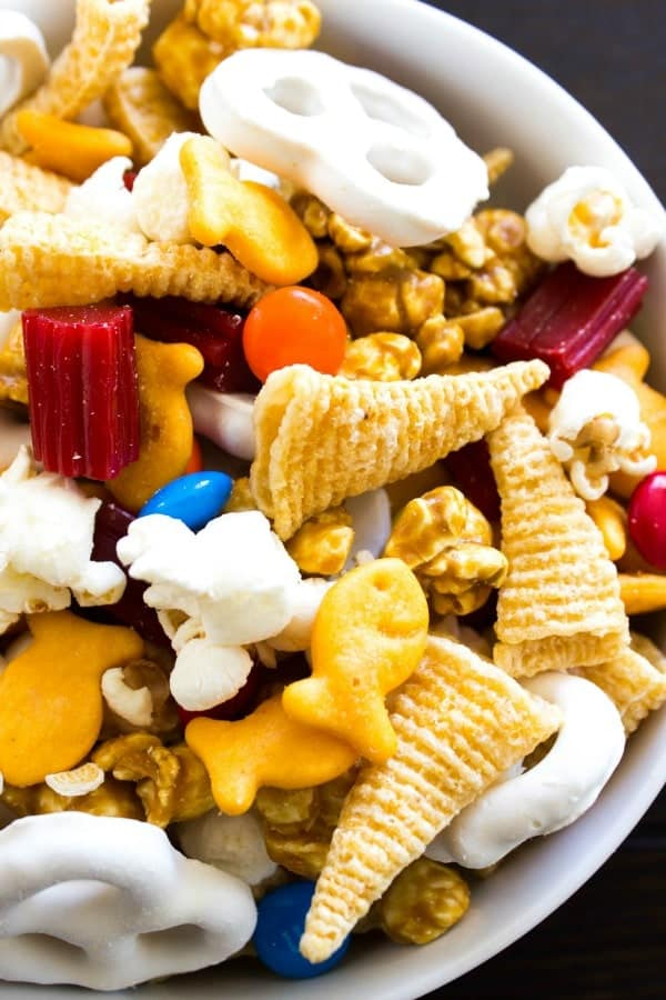 Chimney Park Trail Mix with goldfish, M&M's popcorn, yogurt covered pretzels, caramel corn, licourice and bugels